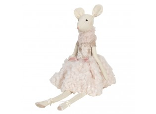 Dekorační sedící myš v růžových šatech Lotte - 19*19*38 cm