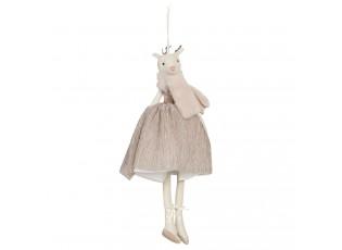 Závěsná dáma laň v pudrových šatech Lotte - 33 cm