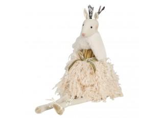 Sedící dáma laň v peříčkových šatech Lotte - 19*19*40 cm