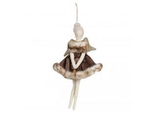 Závěsný anděl se šaty s kožešinou Helewise - 13*31 cm