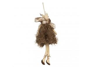Dekorační dáma laň s kožešinkou Lotte - 33 cm