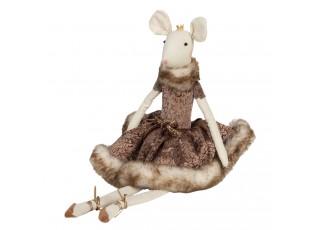 Dekorační myš v šatech s kožešinkou Lotte - 19*19*38 cm