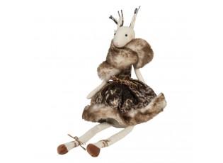 Dekorační dáma laň v šatech s kožešinkou Lotte - 19*19*40 cm