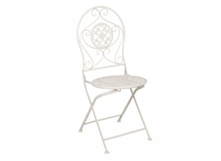 Krémové kovové vintage židle s patinou ( 2 ks ) - 40*40*93 cm
