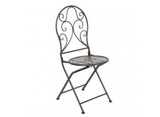 Hnědá kovová vintage židle s patinou ( 2 ks ) - 40*40*93 cm