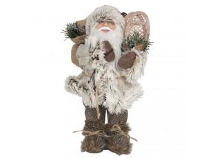 Vánoční dekorace Santa v kožichu s pytlem dárků - 15*11*30 cm