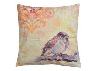 Barevný polštář s motivem ptáčka - 43*43 cm