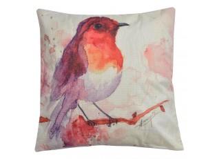 Dekorační polštář s výplní s motivem ptáčka - 43*43 cm