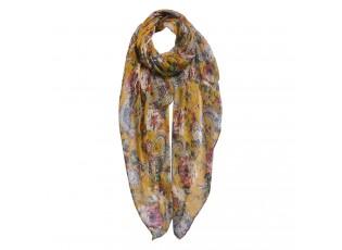 Žlutý šátek s květy - 80*180 cm