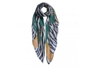 Bílo černý zebrovaný šátek - 80*180 cm
