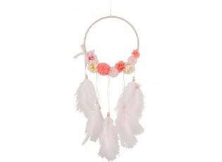 Růžový lapač snů s peříčky Feathers - Ø 20*54cm
