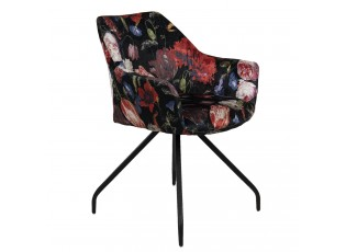 Černé textilní křeslo s květinovým potiskem Parterre - 55*58*82 cm