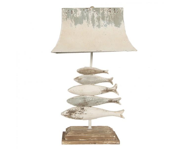 Kovovo-dřevěná vintage stolní lampa s rybami - 44*30*75 cm