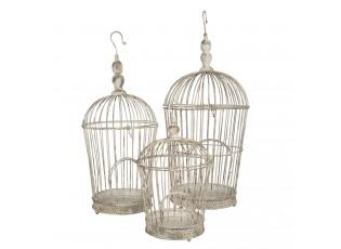 3 ks dekorativní bílá klec na ptáčky s patinou - Ø 36*81 / Ø 31*72 / Ø 26*44 cm
