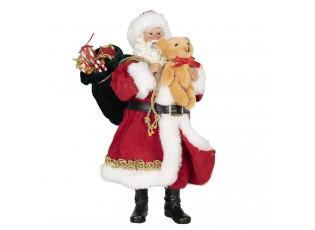 Vánoční dekorace Santa s plyšovým medvídkem - 14*14*28 cm