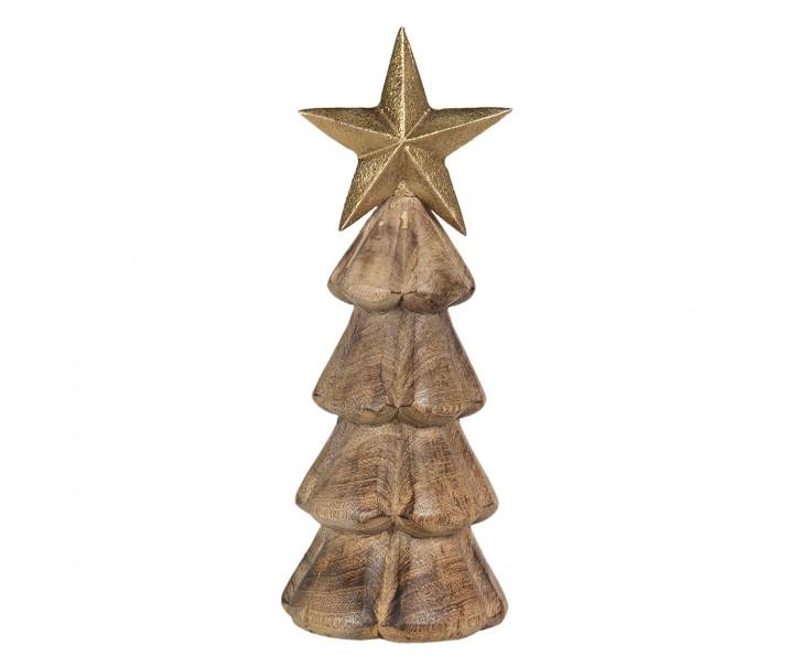 Dřevěná dekorace vánočního stromu s hvězdou - 10*10*28 cm