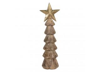 Dřevěná dekorace vánočního stromu se zlatou hvězdou - 10*10*36 cm