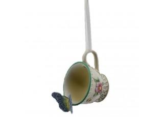 Závěsná dekorace šálek s motýlkem - 9*8*12 cm