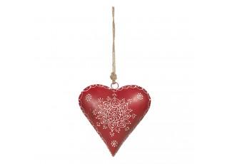 Červené kovové závěsné srdce Coeur - 21*6*21 cm