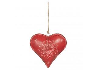 Červené kovové závěsné srdce Coeur - 27*12*27 cm