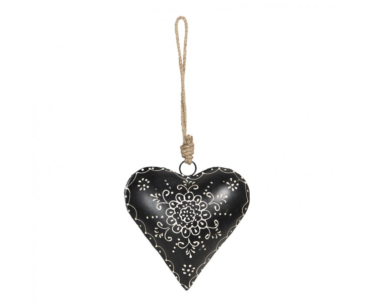 Černé kovové závěsné srdce Coeur - 16*4*16 cm