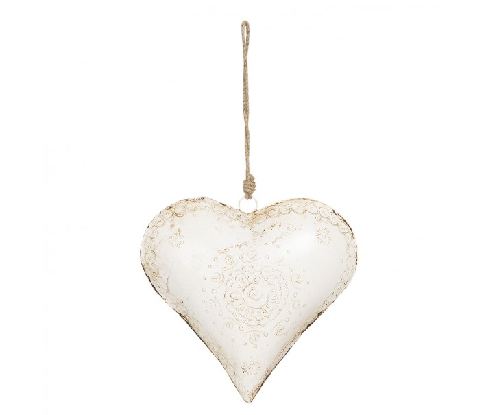 Bílé kovové závěsné srdce Coeur - Bílé kovové závěsné srdce Coeur - 27*12*27 cm