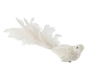 Bílá třpytivá ozdoba ptáček s peříčky  - 27*7*12cm