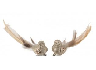 Champagne třpytivá ozdoba ptáček s peříčky  - 15*14*15cm