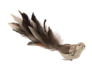 Champagne třpytivá ozdoba ptáček s peříčky  - 27*8*9cm