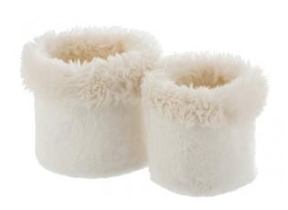 Sada 2 bílých chlupatých obalů na květináče Plush pots – Ø 27 *25 cm
