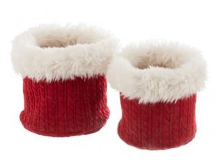 Sada 2 bílo-červených chlupatých obalů na květináče Plush pots – Ø 27 *25 cm