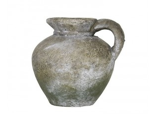 Šedý cementový retro džbánek se zelenou patinou - 16*14*15cm