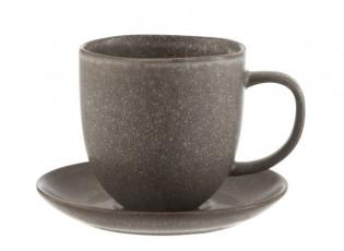 Šedo-hnědý keramický šálek s podšálkem Louise taupe - 12*9*9.5cm