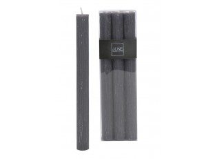 Box 6ks šedá stolní svíčka Granite - Ø 2,5*24cm/13h