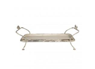 Krémově šedý servírovací stolek s patinou a odřeninami - 60*32*21 cm