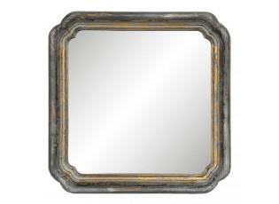Čtvercové zrcadlo se zaoblenými rohy ve zlatém rámu s patinou - 44*6*44 cm