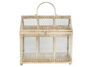 Dekorační zdobený vintage mini skleník - 36*17*35 cm