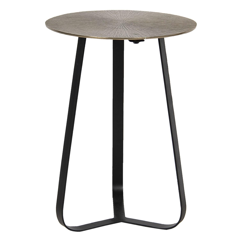 Levně Clayre & Eef Zlatý odkládací stolek s vějířovitým designem – Ø 40*50 cm