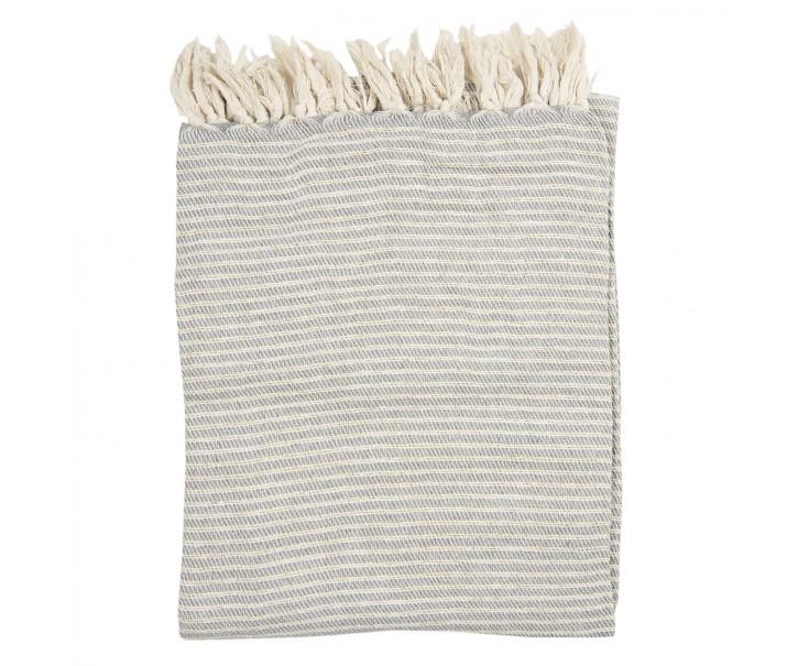 Béžovo -  šedý bavlněný pléd se zlatou nitkou a třásněmi - 125*150 cm