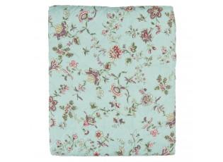 Tyrkysový přehoz na jednolůžkové postele s květy Flowers - 140*220 cm