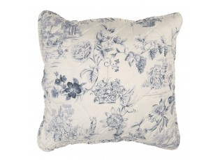 Béžový povlak na polštář s modrými květy Blow - 40*40 cm