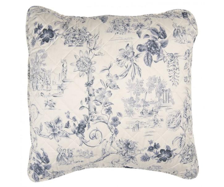 Béžový povlak na polštář s modrými květy Blow - 50*50 cm
