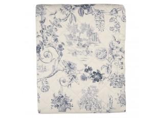 Béžový přehoz na dvoulůžkové postele s modrými květy Blow - 240*260 cm