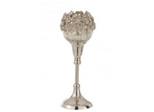 Skleněný svicen na nožičce se stříbrným zdobením a kamínky Luxy - Ø  10*24cm