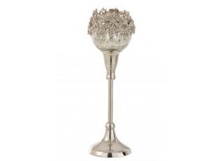 Skleněný svicen na nožičce se stříbrným zdobením a kamínky Luxy - Ø  10*27cm