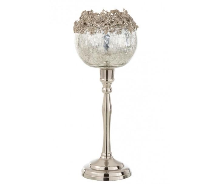 Skleněný svicen na nožičce se stříbrným zdobením a kamínky Luxy - Ø  12*33 cm