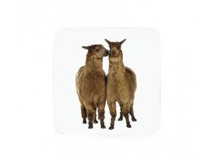 6ks pevné korkové podtácky Lama - 10*10*0,4cm