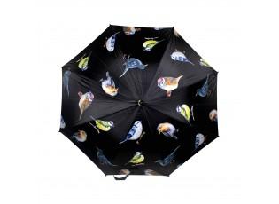 Černý deštník s ptáčky a dřevěnou rukojetí - 105*105*88cm