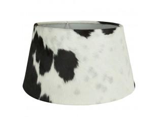 Bílo-černé stínidlo na lampu z kravské kůže Taurus - 50*40*26cm