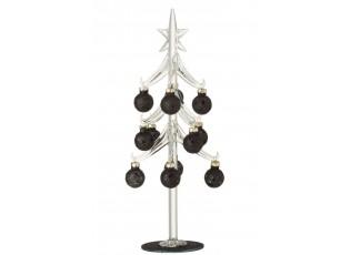 Skleněný stromek s černými koulemi Baubles Stars Medium – 12*12*30 cm